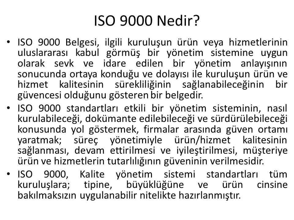 ISO 9000 Nedir? ISO 9000 Belgesi, ilgili kuruluşun ürün veya hizmetlerinin uluslararası kabul görmüş bir yönetim sistemine uygun olarak sevk ve idare