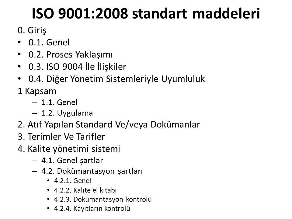 ISO 9001:2008 standart maddeleri 0. Giriş 0.1. Genel 0.2. Proses Yaklaşımı 0.3. ISO 9004 İle İlişkiler 0.4. Diğer Yönetim Sistemleriyle Uyumluluk 1 Ka