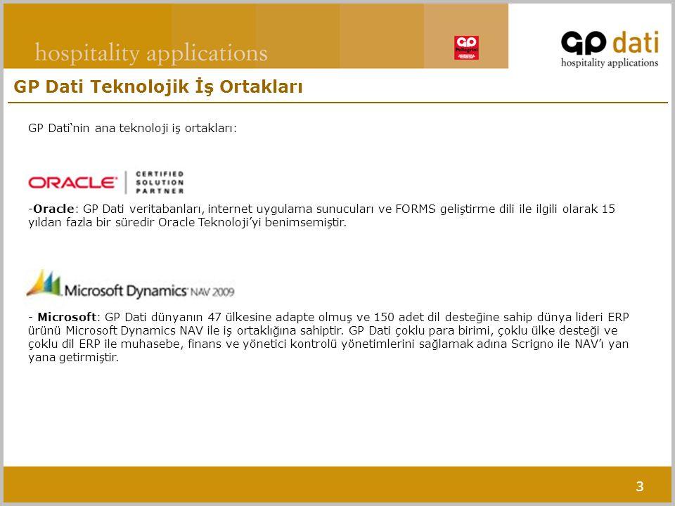 3 GP Dati Teknolojik İş Ortakları GP Dati'nin ana teknoloji iş ortakları: -Oracle: GP Dati veritabanları, internet uygulama sunucuları ve FORMS gelişt