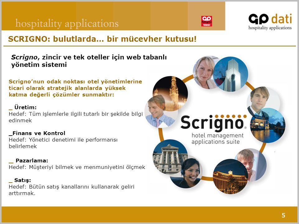 5 Scrigno'nun odak noktası otel yönetimlerine ticari olarak stratejik alanlarda yüksek katma değerli çözümler sunmaktır: _ Üretim: Hedef: Tüm işlemler
