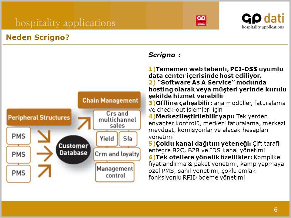 """6 Scrigno : 1)Tamamen web tabanlı, PCI-DSS uyumlu data center içerisinde host ediliyor. 2) """"Software As A Service"""" modunda hosting olarak veya müşteri"""