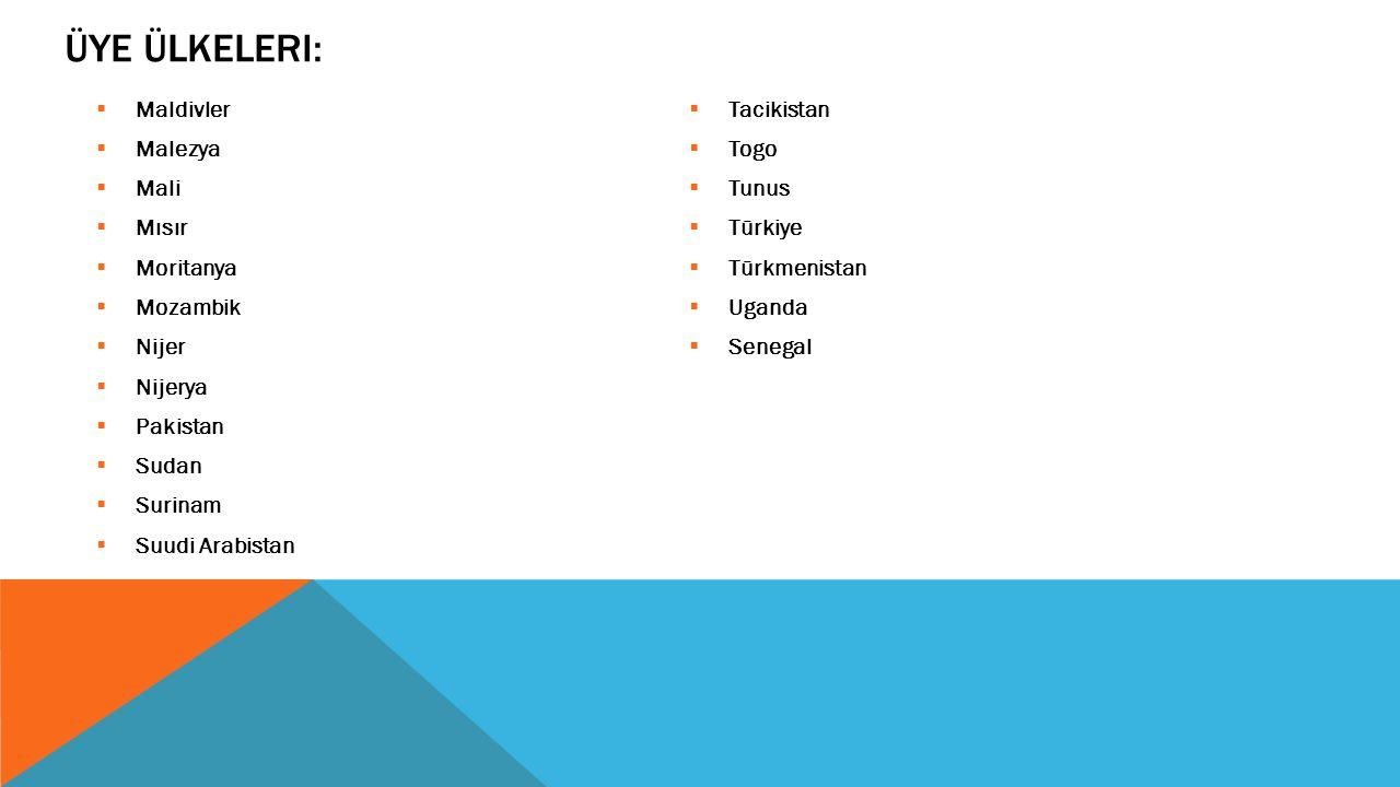 ÜYE ÜLKELERI:  Maldivler  Malezya  Mali  Mısır  Moritanya  Mozambik  Nijer  Nijerya  Pakistan  Sudan  Surinam  Suudi Arabistan  Tacikista