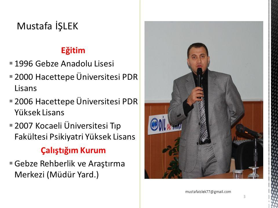 Eğitim  1996 Gebze Anadolu Lisesi  2000 Hacettepe Üniversitesi PDR Lisans  2006 Hacettepe Üniversitesi PDR Yüksek Lisans  2007 Kocaeli Üniversites