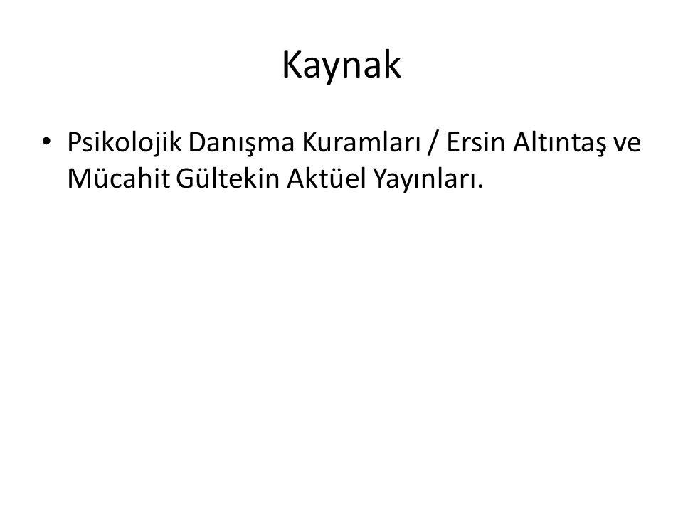Kaynak Psikolojik Danışma Kuramları / Ersin Altıntaş ve Mücahit Gültekin Aktüel Yayınları.