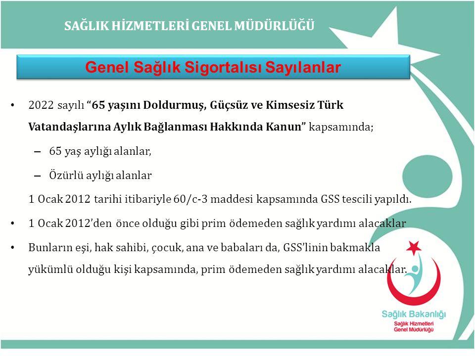 SAĞLIK HİZMETLERİ GENEL MÜDÜRLÜĞÜ Genel Sağlık Sigortalısı Sayılanlar 2022 sayılı 65 yaşını Doldurmuş, Güçsüz ve Kimsesiz Türk Vatandaşlarına Aylık Bağlanması Hakkında Kanun kapsamında; – 65 yaş aylığı alanlar, – Özürlü aylığı alanlar 1 Ocak 2012 tarihi itibariyle 60/c-3 maddesi kapsamında GSS tescili yapıldı.