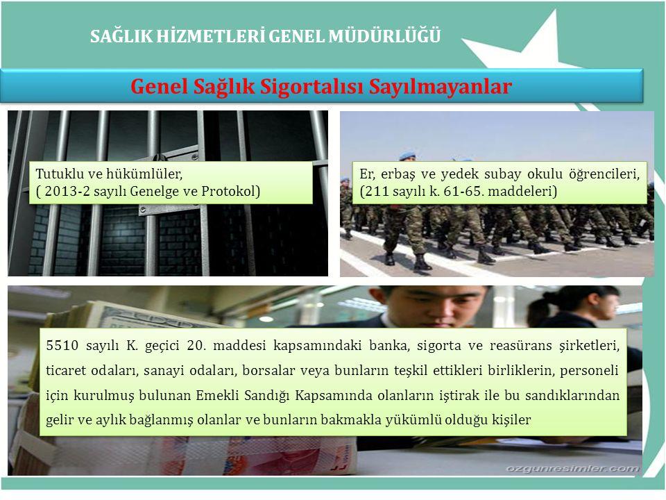 SAĞLIK HİZMETLERİ GENEL MÜDÜRLÜĞÜ Genel Sağlık Sigortalısı Sayılmayanlar Tutuklu ve hükümlüler, ( 2013-2 sayılı Genelge ve Protokol) Tutuklu ve hüküml