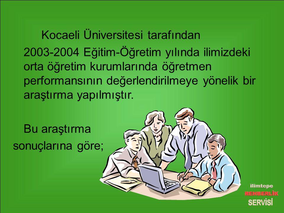 Kocaeli Üniversitesi tarafından 2003-2004 Eğitim-Öğretim yılında ilimizdeki orta öğretim kurumlarında öğretmen performansının değerlendirilmeye yönelik bir araştırma yapılmıştır.