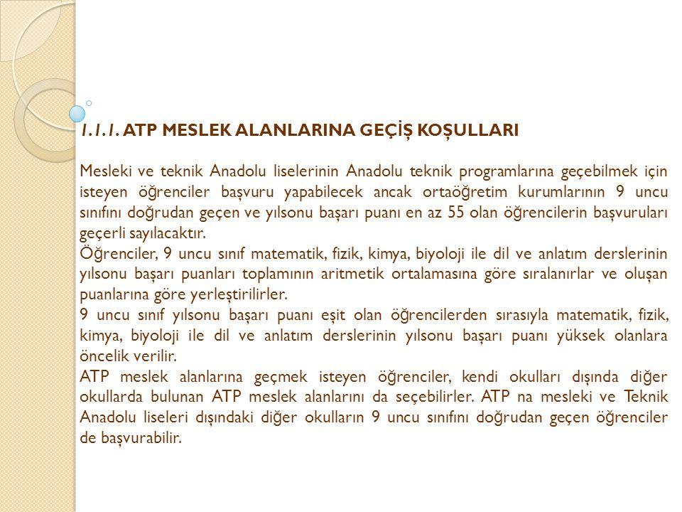 1.1.1. ATP MESLEK ALANLARINA GEÇ İ Ş KOŞULLARI Mesleki ve teknik Anadolu liselerinin Anadolu teknik programlarına geçebilmek için isteyen ö ğ renciler