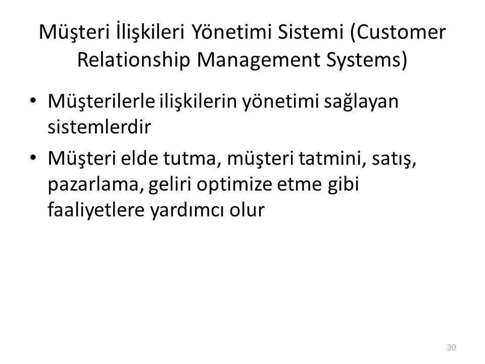 Müşteri İlişkileri Yönetimi Sistemi (Customer Relationship Management Systems) Müşterilerle ilişkilerin yönetimi sağlayan sistemlerdir Müşteri elde tu