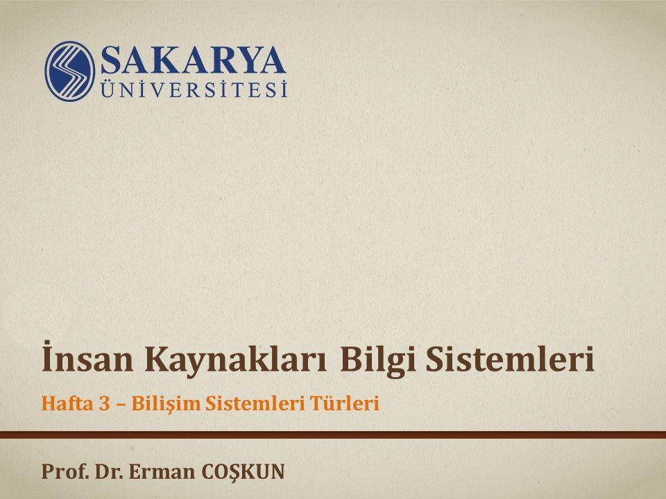 Prof. Dr. Erman COŞKUN İnsan Kaynakları Bilgi Sistemleri Hafta 3 – Bilişim Sistemleri Türleri