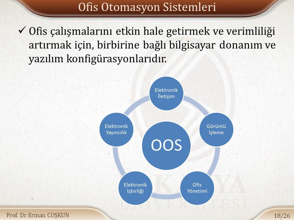 Prof. Dr. Erman COŞKUN Ofis Otomasyon Sistemleri Ofis çalışmalarını etkin hale getirmek ve verimliliği artırmak için, birbirine bağlı bilgisayar donan