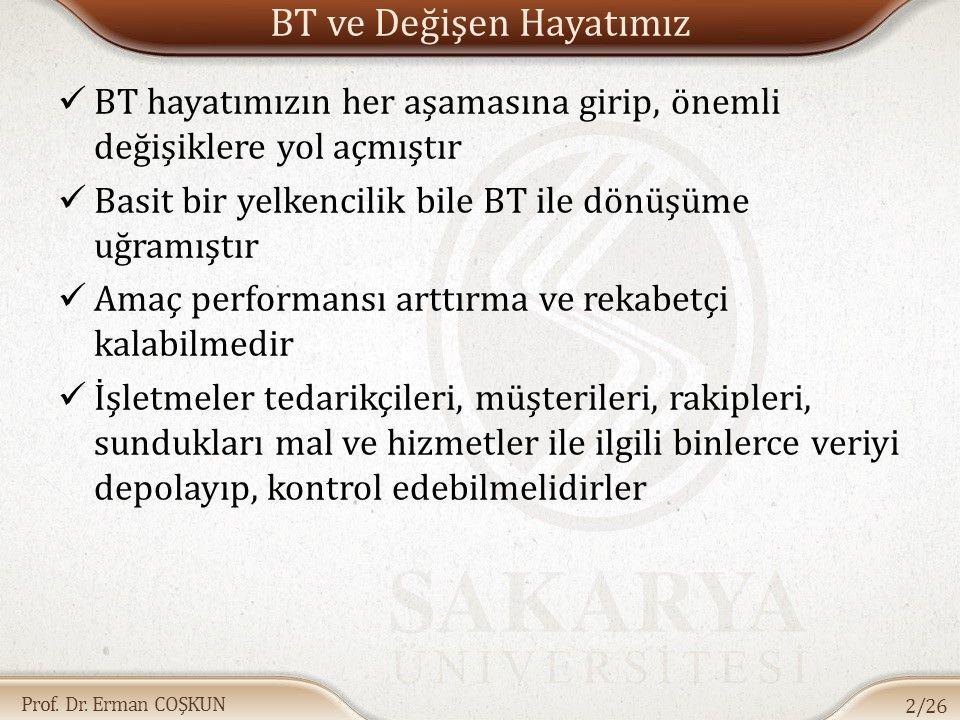 Prof. Dr. Erman COŞKUN BT ve Değişen Hayatımız BT hayatımızın her aşamasına girip, önemli değişiklere yol açmıştır Basit bir yelkencilik bile BT ile d