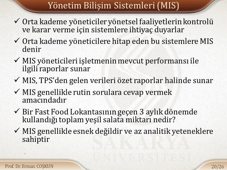 Prof. Dr. Erman COŞKUN Yönetim Bilişim Sistemleri (MIS) Orta kademe yöneticiler yönetsel faaliyetlerin kontrolü ve karar verme için sistemlere ihtiyaç