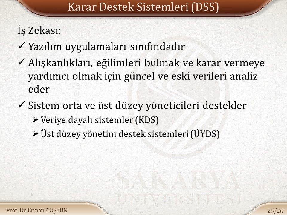 Prof. Dr. Erman COŞKUN Karar Destek Sistemleri (DSS) İş Zekası: Yazılım uygulamaları sınıfındadır Alışkanlıkları, eğilimleri bulmak ve karar vermeye y