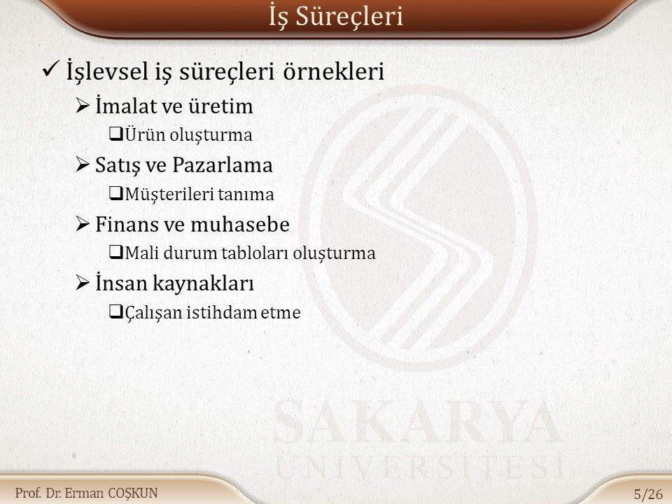 Prof. Dr. Erman COŞKUN İş Süreçleri / Örnek Sipariş Tamamlama Süreci 6/26
