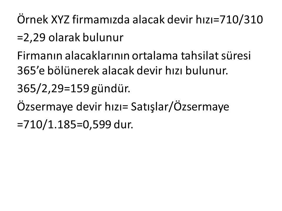 Örnek XYZ firmamızda alacak devir hızı=710/310 =2,29 olarak bulunur Firmanın alacaklarının ortalama tahsilat süresi 365'e bölünerek alacak devir hızı