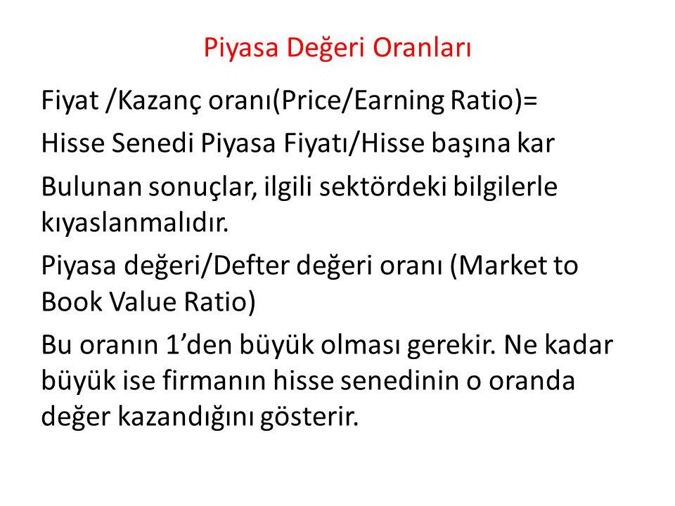 Piyasa Değeri Oranları Fiyat /Kazanç oranı(Price/Earning Ratio)= Hisse Senedi Piyasa Fiyatı/Hisse başına kar Bulunan sonuçlar, ilgili sektördeki bilgi