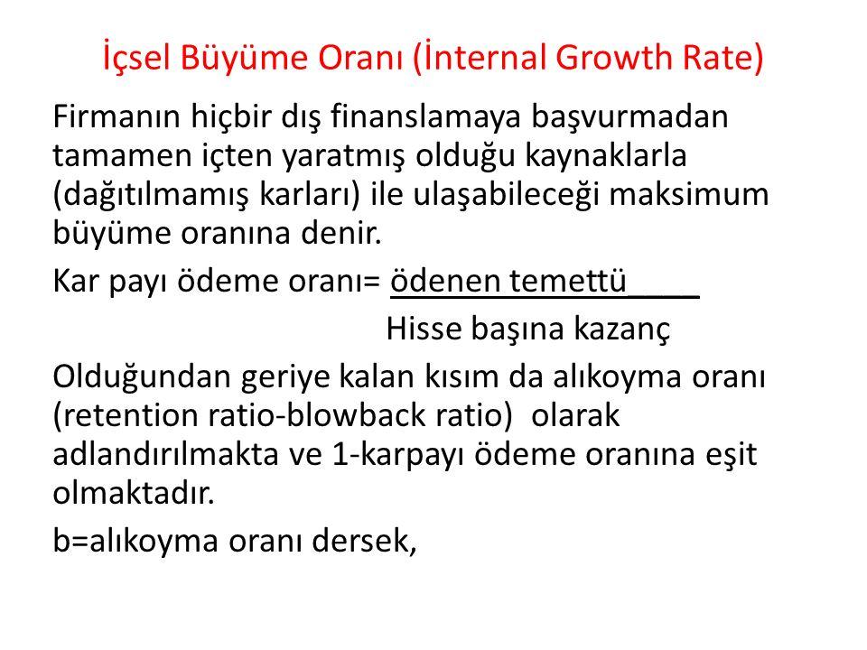 İçsel Büyüme Oranı (İnternal Growth Rate) Firmanın hiçbir dış finanslamaya başvurmadan tamamen içten yaratmış olduğu kaynaklarla (dağıtılmamış karları