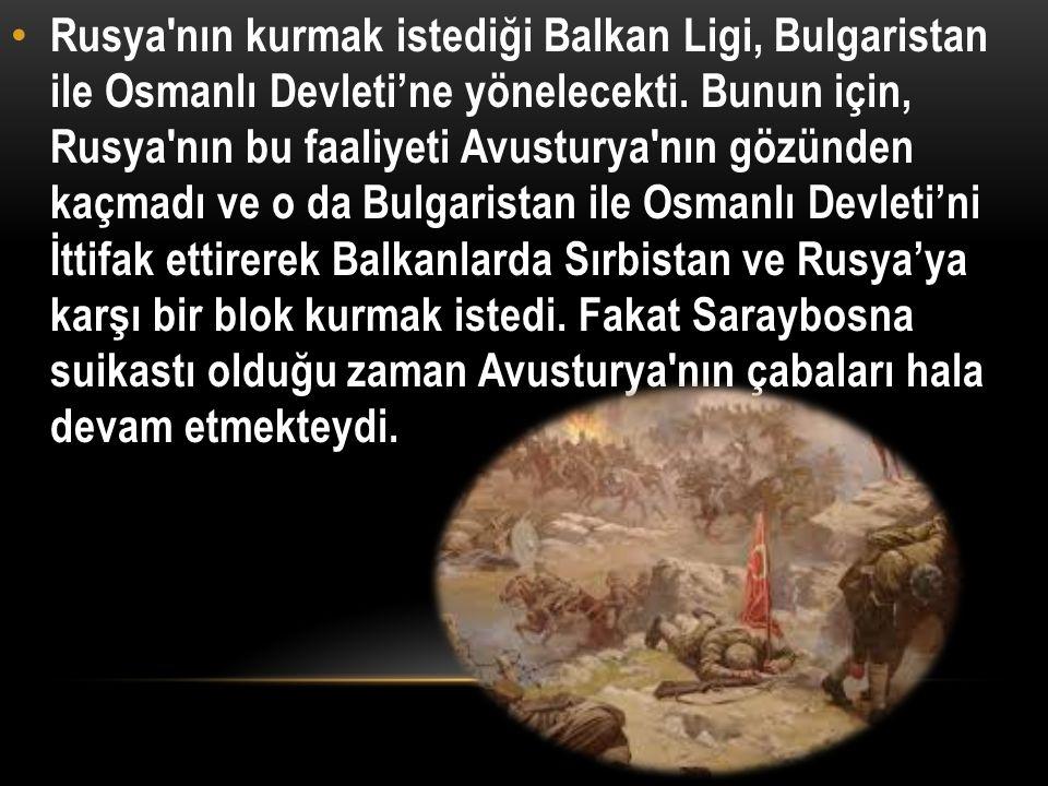 Rusya nın kurmak istediği Balkan Ligi, Bulgaristan ile Osmanlı Devleti'ne yönelecekti.