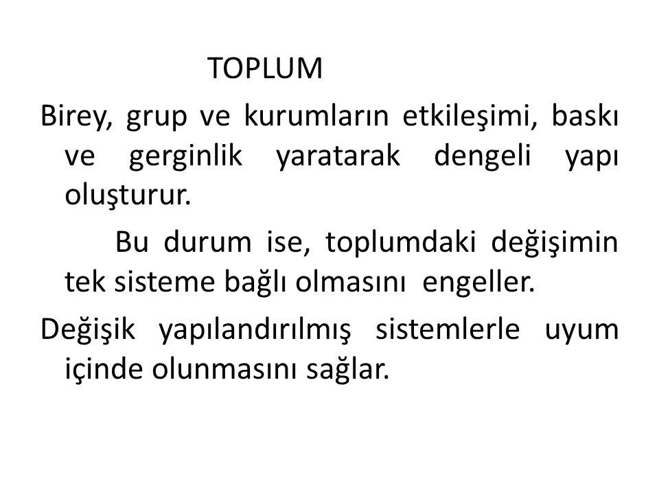 Toplum; TOPLUM Birey, grup ve kurumların etkileşimi, baskı ve gerginlik yaratarak dengeli yapı oluşturur.