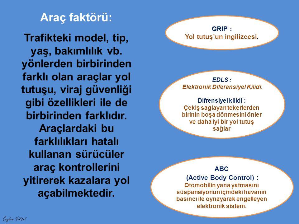Ceyhun Yüksel Araç faktörü: Trafikteki model, tip, yaş, bakımlılık vb.
