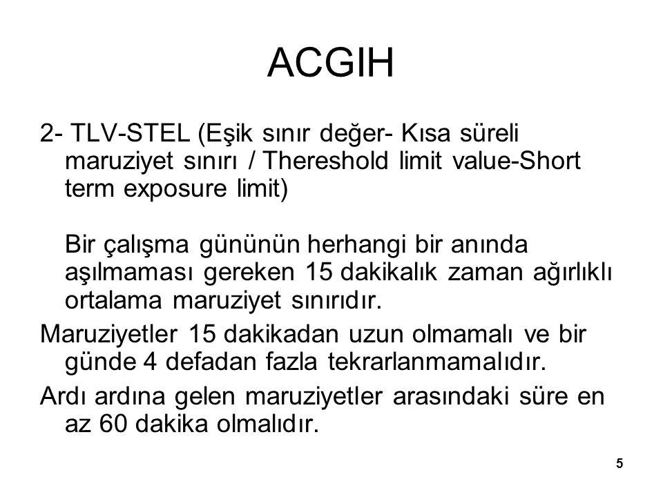 6 ACGIH 3- TLV- Celling (Eşik sınır değer- Tavan değer /Thereshold limit value / Ceiling Bir çalışma gününün herhangi bir anında aşılmaması gereken değerlerdir.