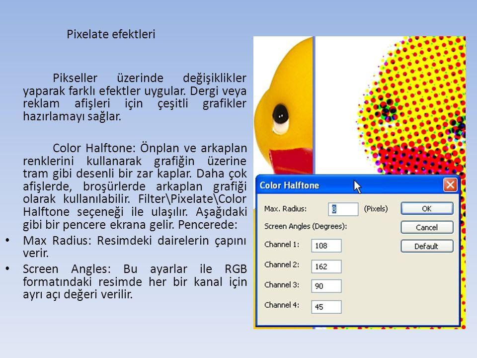 Pixelate efektleri Pikseller üzerinde değişiklikler yaparak farklı efektler uygular.