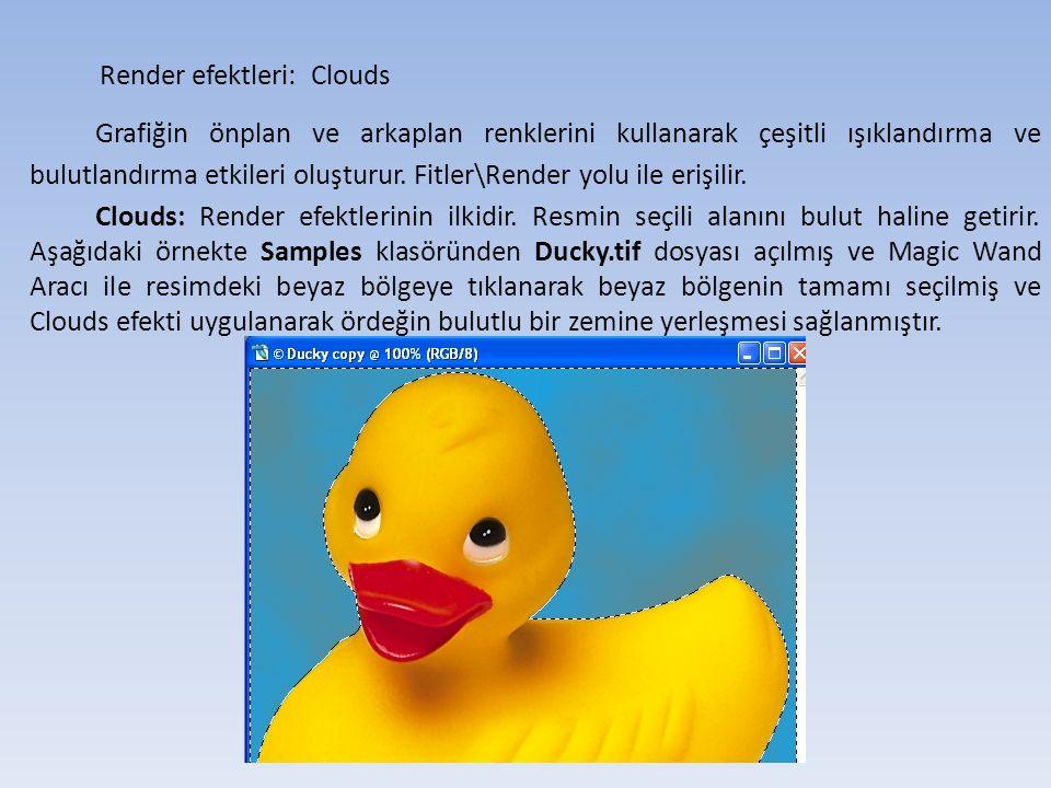 Render efektleri: Clouds Grafiğin önplan ve arkaplan renklerini kullanarak çeşitli ışıklandırma ve bulutlandırma etkileri oluşturur.