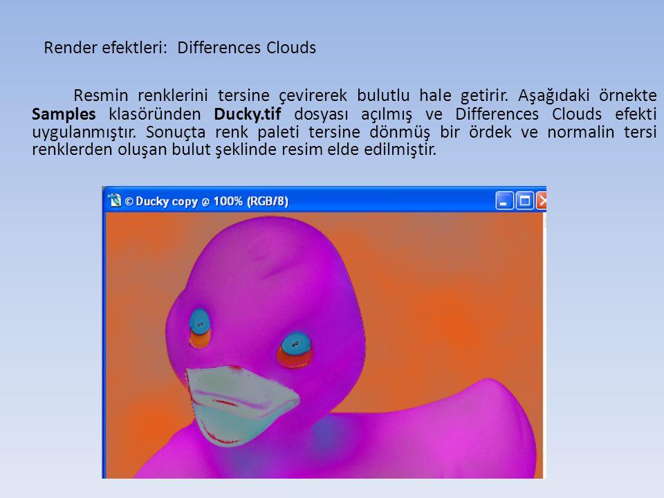 Render efektleri: Differences Clouds Resmin renklerini tersine çevirerek bulutlu hale getirir.