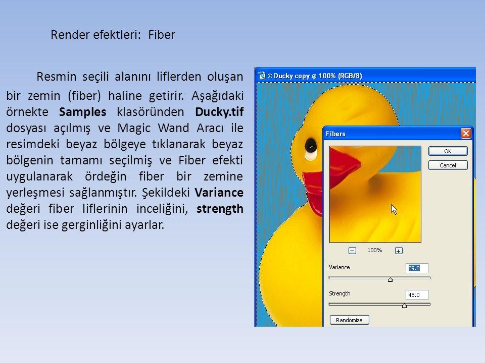 Render efektleri: Fiber Resmin seçili alanını liflerden oluşan bir zemin (fiber) haline getirir.