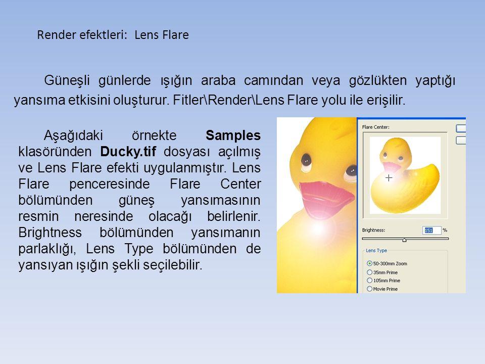 Render efektleri: Lens Flare Güneşli günlerde ışığın araba camından veya gözlükten yaptığı yansıma etkisini oluşturur.
