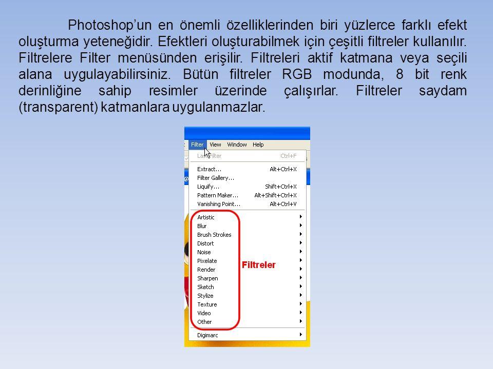 Phototshop programı çok sayıda filtre içerdiğinden tüm bu filtreleri tek tek resim üzerine uygulamak uzun zaman alır.