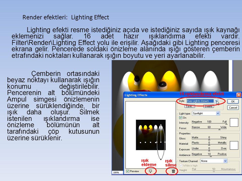 Render efektleri: Lighting Effect Lighting efekti resme istediğiniz açıda ve istediğiniz sayıda ışık kaynağı eklemenizi sağlar.