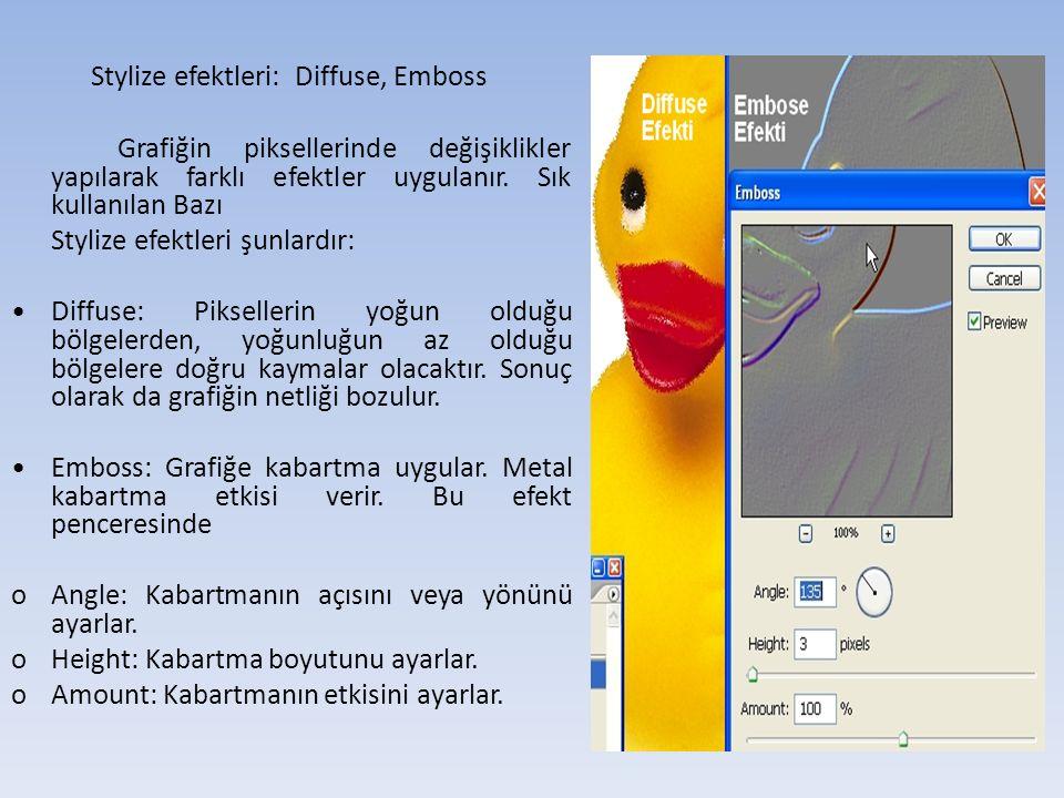 Stylize efektleri: Diffuse, Emboss Grafiğin piksellerinde değişiklikler yapılarak farklı efektler uygulanır.