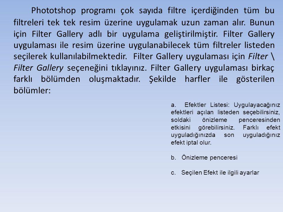 Filter Gallery ile birden fazla efekt uygulamak Herhangi bir filtreyi uyguladıktan sonra aynı anda 2., 3.