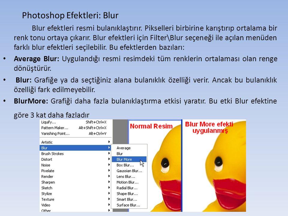 Photoshop Efektleri: Blur Blur efektleri resmi bulanıklaştırır.