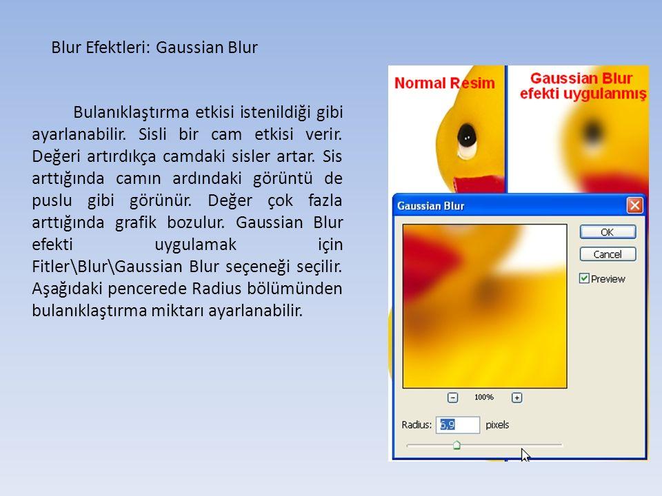 Blur Efektleri: Gaussian Blur Bulanıklaştırma etkisi istenildiği gibi ayarlanabilir.