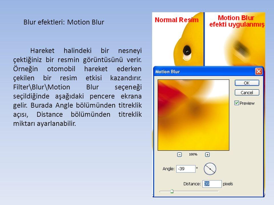 Blur efektleri: Motion Blur Hareket halindeki bir nesneyi çektiğiniz bir resmin görüntüsünü verir.