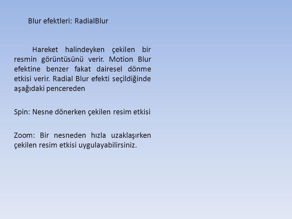 Blur efektleri: RadialBlur Hareket halindeyken çekilen bir resmin görüntüsünü verir.