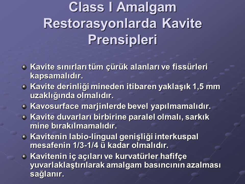 Class I Amalgam Restorasyonlarda Kavite Prensipleri Kavite sınırları tüm çürük alanları ve fissürleri kapsamalıdır. Kavite derinliği mineden itibaren