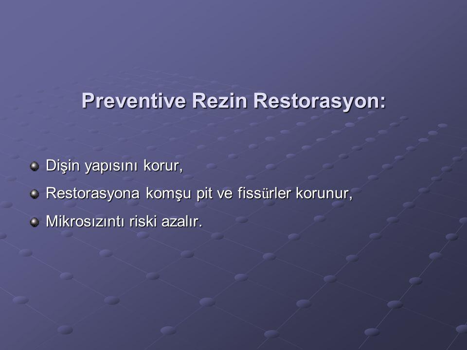 Preventive Rezin Restorasyon: Dişin yapısını korur, Restorasyona komşu pit ve fiss ü rler korunur, Mikrosızıntı riski azalır.