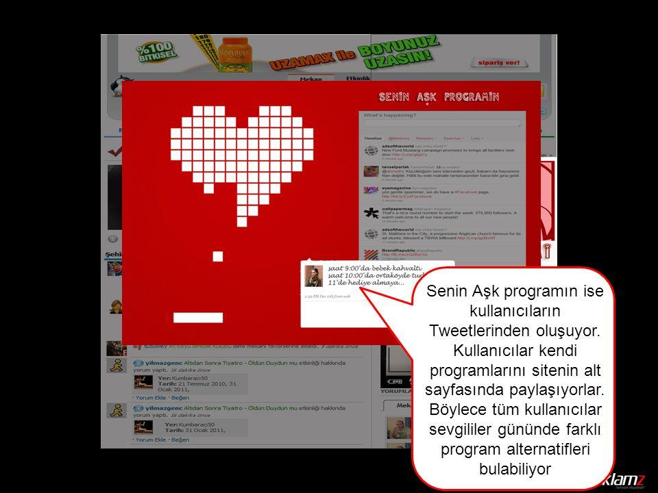 Senin Aşk programın ise kullanıcıların Tweetlerinden oluşuyor.