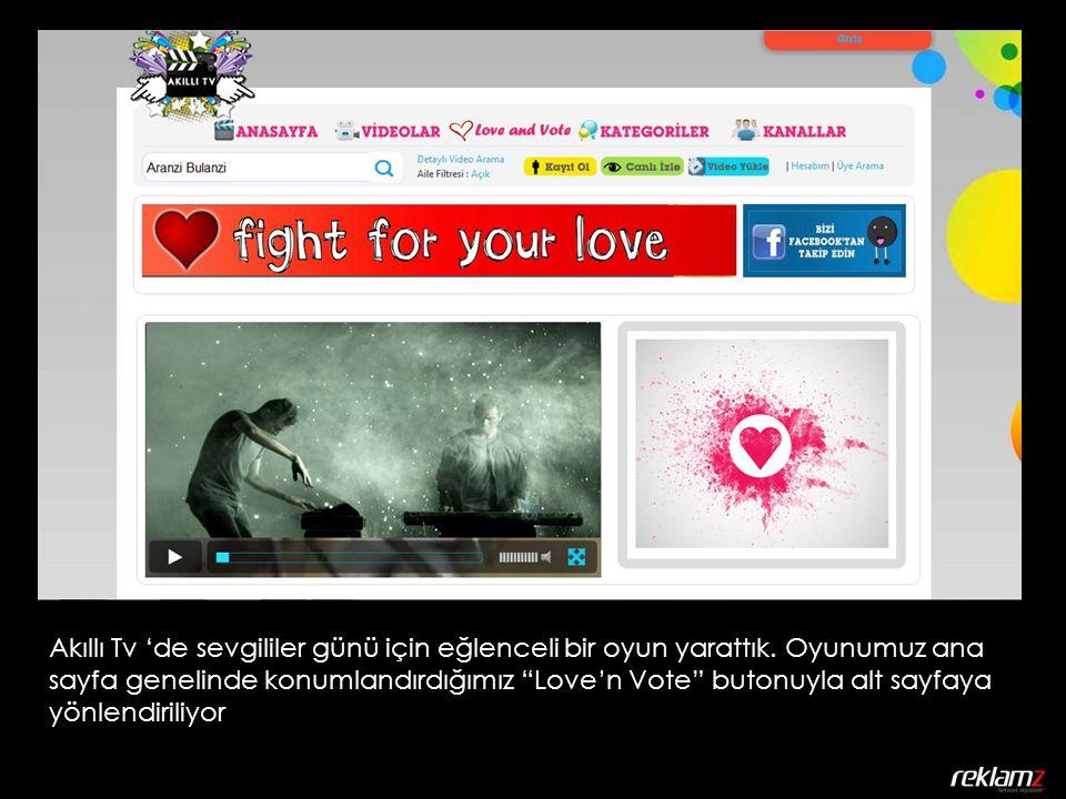 Alt sayfada sürekli dönen bizim oluşturduğumuz aşk şarkıları ile dolu bir video playlist bulunuyor.