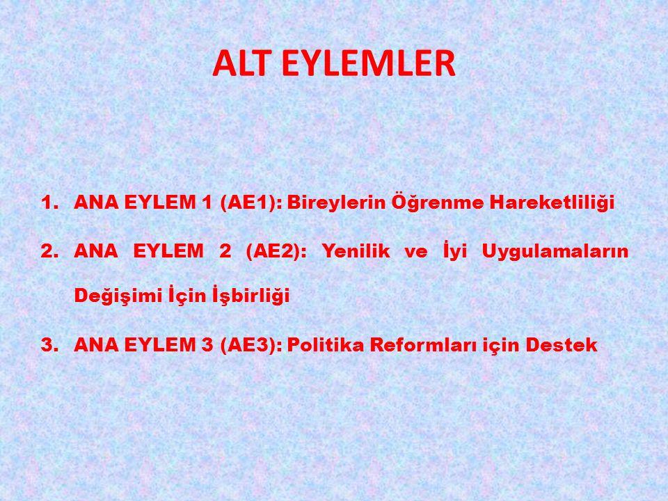 ALT EYLEMLER 1.ANA EYLEM 1 (AE1): Bireylerin Öğrenme Hareketliliği 2.ANA EYLEM 2 (AE2): Yenilik ve İyi Uygulamaların Değişimi İçin İşbirliği 3.ANA EYLEM 3 (AE3): Politika Reformları için Destek