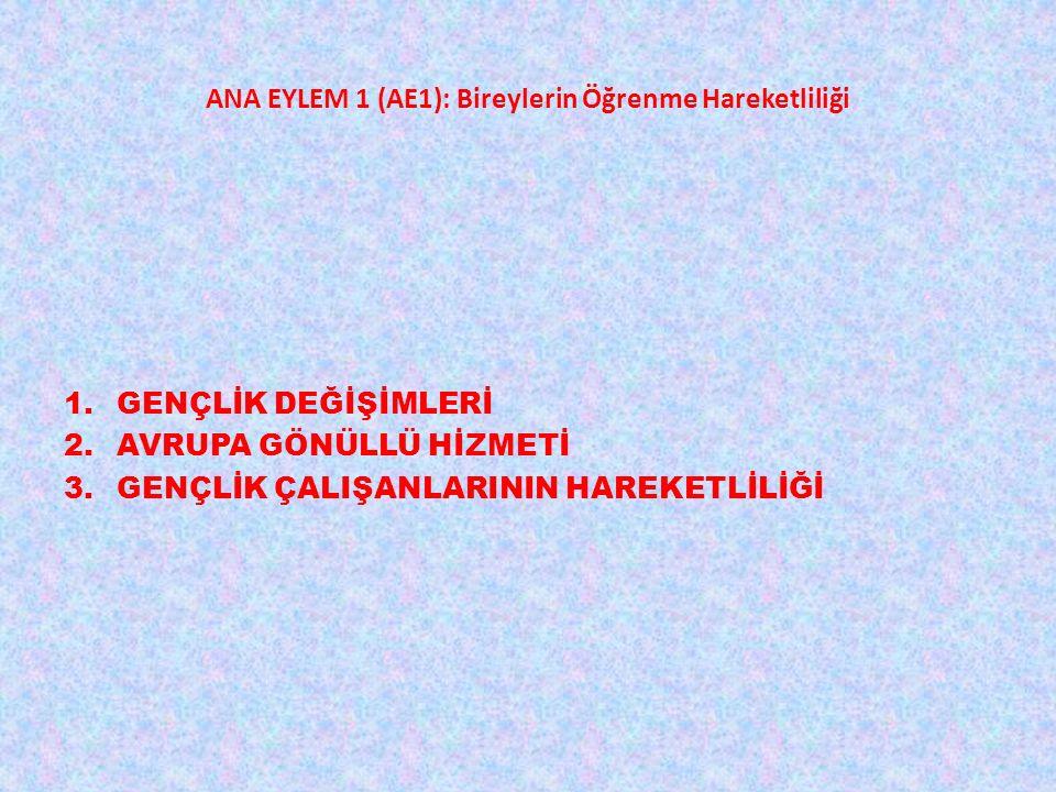 ANA EYLEM 1 (AE1): Bireylerin Öğrenme Hareketliliği 1.GENÇLİK DEĞİŞİMLERİ 2.AVRUPA GÖNÜLLÜ HİZMETİ 3.GENÇLİK ÇALIŞANLARININ HAREKETLİLİĞİ