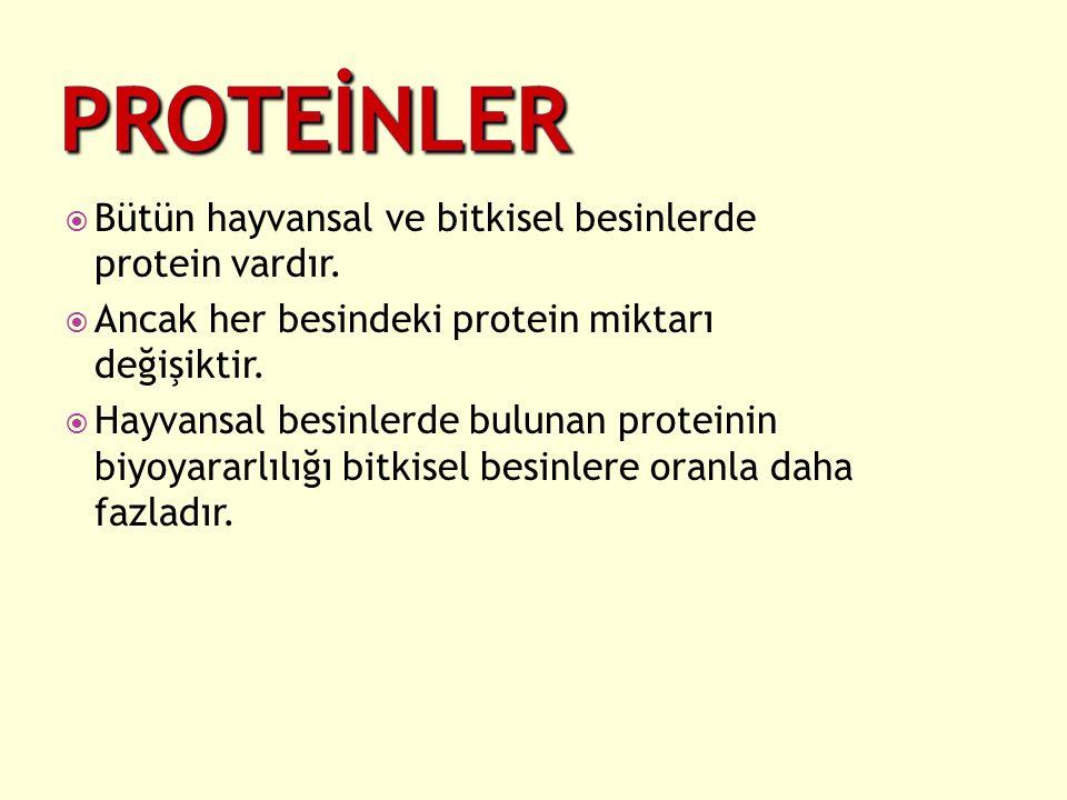  Bütün hayvansal ve bitkisel besinlerde protein vardır.  Ancak her besindeki protein miktarı değişiktir.  Hayvansal besinlerde bulunan proteinin bi