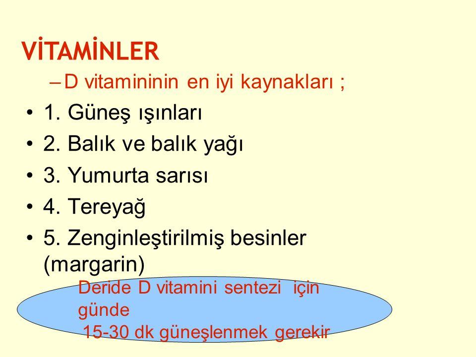 –D vitamininin en iyi kaynakları ; 1. Güneş ışınları 2. Balık ve balık yağı 3. Yumurta sarısı 4. Tereyağ 5. Zenginleştirilmiş besinler (margarin) VİTA