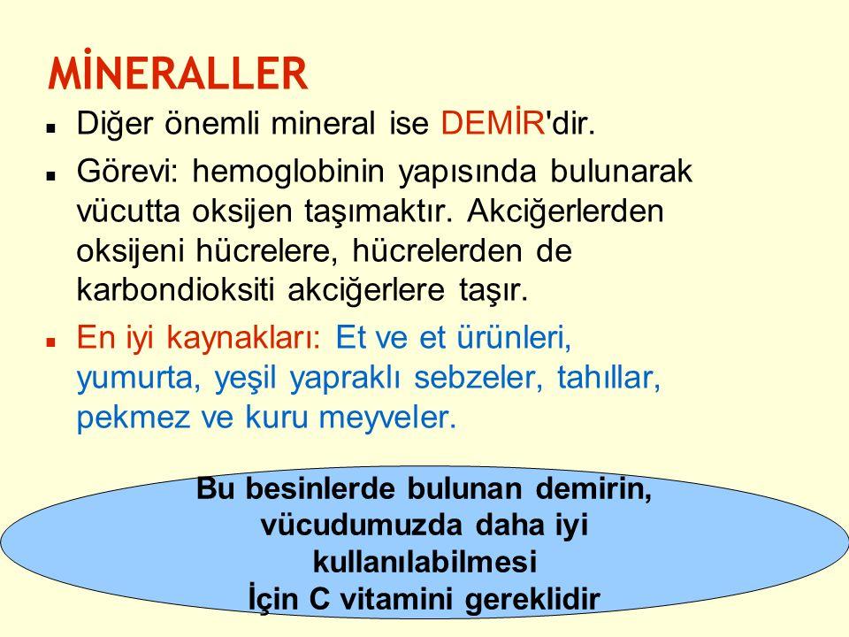 Diğer önemli mineral ise DEMİR'dir. Görevi: hemoglobinin yapısında bulunarak vücutta oksijen taşımaktır. Akciğerlerden oksijeni hücrelere, hücrelerden