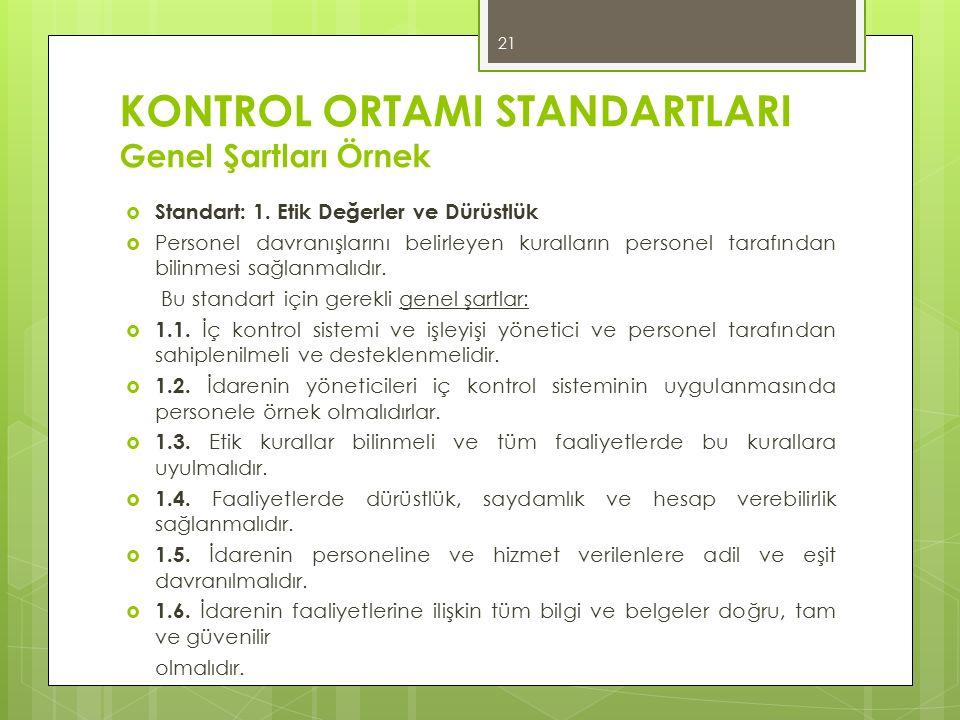 KONTROL ORTAMI STANDARTLARI Genel Şartları Örnek  Standart: 1. Etik Değerler ve Dürüstlük  Personel davranışlarını belirleyen kuralların personel ta