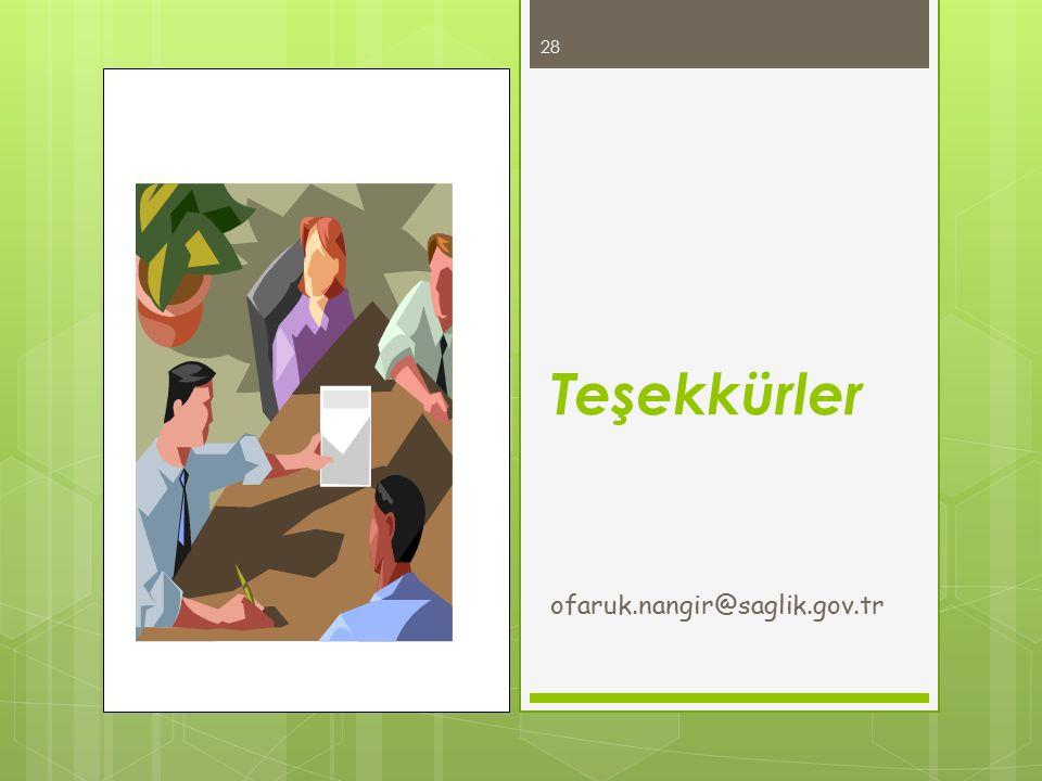 Teşekkürler ofaruk.nangir@saglik.gov.tr 28